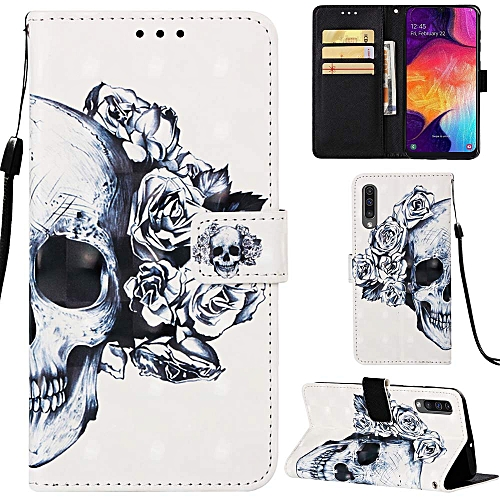 Samsung Galaxy A50 Case Wallet 3D Magnetic Flip Folio PU Leather Cover Kickstand Card Holder For Samsung Galaxy A50 - Skull