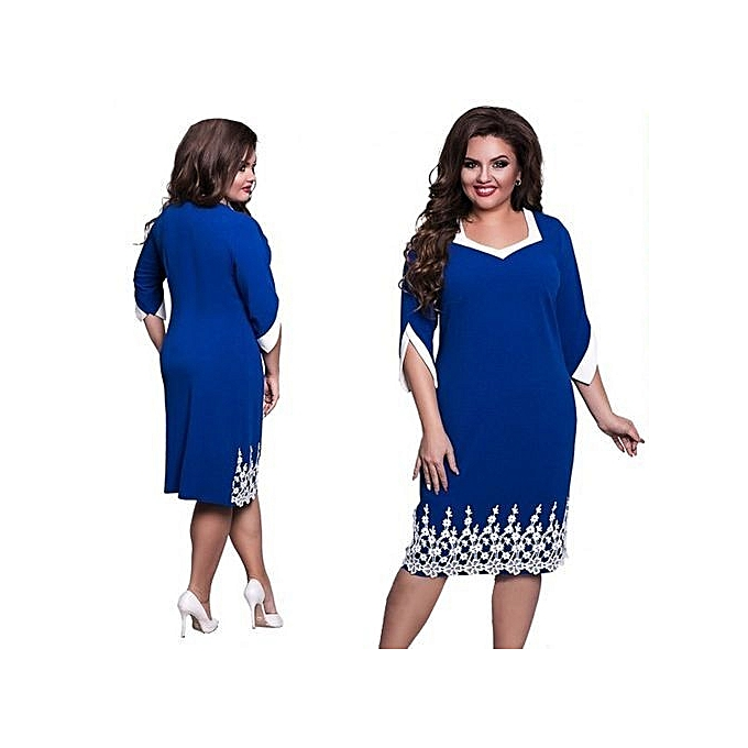 641a0c3feff Fashion 6XL 5XL Lace Patchwork Women Dress 2017 Autumn Style Plus Size  Office Big Large Size Dress Casual Loose Blue Dresses-blue