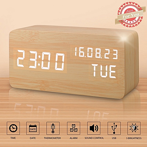 Alarm Clock, LED Wood Digital Clocks With Time Date Week Temperature Voice Control 12/24 Hours And Backup Battery, USB Modern Wooden Desk Clock Suitable For Your Kids Heavy Sleepers Bedrooms Travel