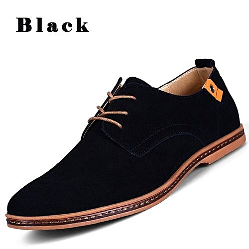 Men's Casual Leather Lace-up Shoes - Black