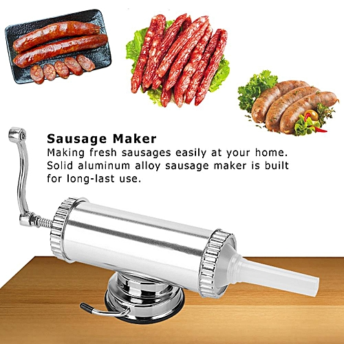 2 LB Aluminum Alloy Sausage Stuffer Maker Meat Filler Kit For Home Use