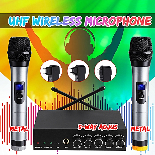 UHF Dual Channel Wireless Handheld Microphone System For Singing Home Karaoke EU Plug