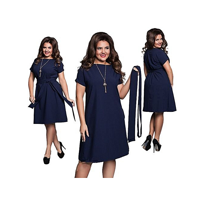 8ece4a09003b Fashion Women Casual O-neck Solid A-line Plus Size Dress Slim Short ...