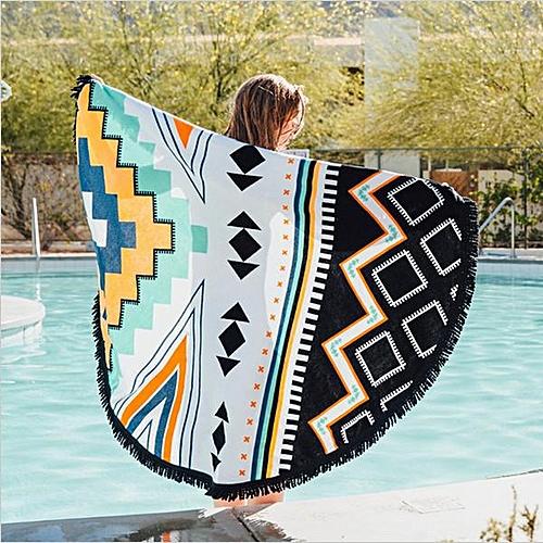 Honana WX-992 150cm Bohemian Style Thin Tassel Beach Towel Round Silk Scarf Bed Sheet Tapestry