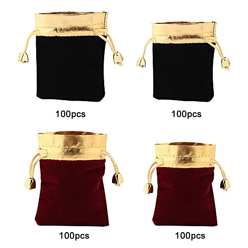100PCS Luxury Pouches Packing Drawstring Bag For Gift Jewelry Party Wedding Favor