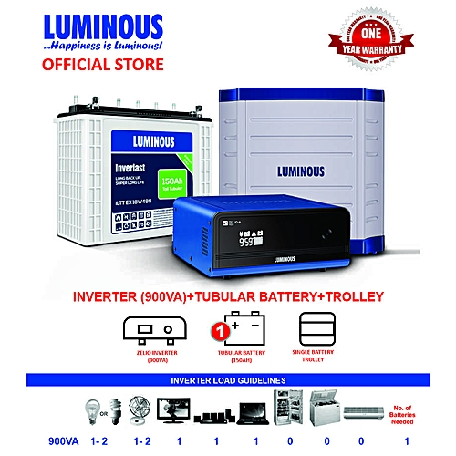 Luminous DeLite 900VA Inverter + 1 Tubular Battery