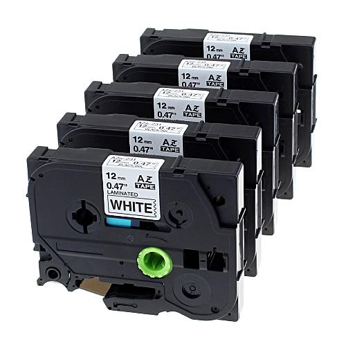 5 Pack TZE-231 TZ-231 Labeling Tape, TZE231 TZ231 Standard Laminated Label Cassette Tapes Compatible Brother P-touch Label Makers For PT-D210 PT-H100 PT-D400 PT-D600 Black On White 0.47 Inch (12mm) X 8m (26.2ft)