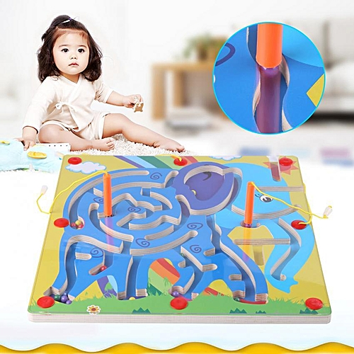 6Types Kid Toy Magnetic Pen Walking Bead Marbles Labyrinth Wooden Maze Educational Game Toys