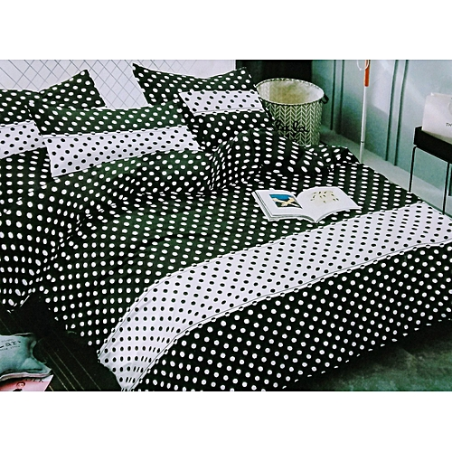 Bedsheets With Pillow Cases: Black & White Tiny Polka Dots