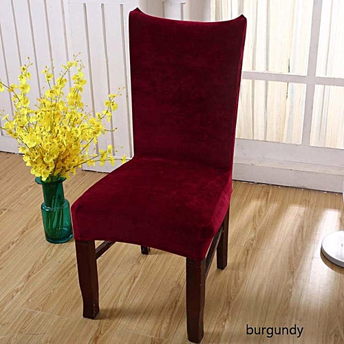 Villus Conjoined Elastic Chair Cover Home Hotel Office Warm Seat Covering For Wedding Party Brown Dining Burgundy