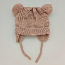 39101325396 Eleganya Children Lovely Double Hairball Warm Ear Protection Knitting Hat