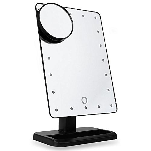 Folding Table 20 LEDs Lamp Luminous Cosmetic Mirror - Black