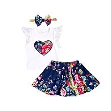 a631b225d60ab 2019 Kids 3Pcs Infant Baby Girls Floral Print Lace Tops T-shirt Skirt  Princess Dress