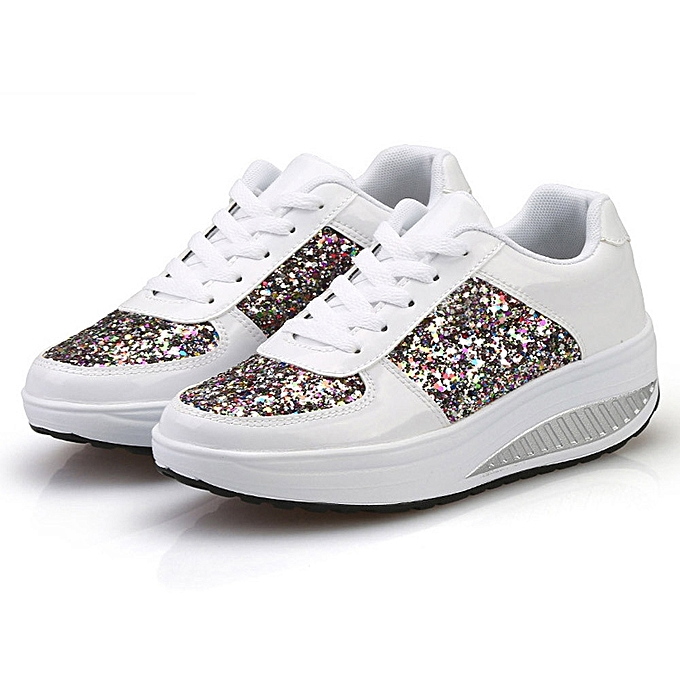 new concept d780b f6040 Women's Ladies Wedges Sneakers Sequins Shake Shoes Girls Sport Shoes(UK  Size)