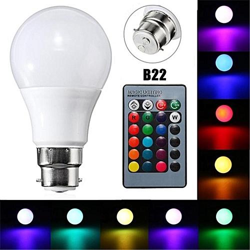 B22 5W Dimmable RGB LED Light Lamp Bulb Remote Control AC 85-265V