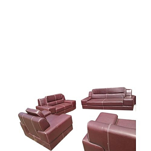 LG Brown 7 Seater Leather Sofa