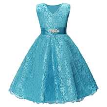 f140df9a9160 Lace Kids Girl Dress Princess Formal Pageant Gown Party Wedding Bridesmaid  Dress