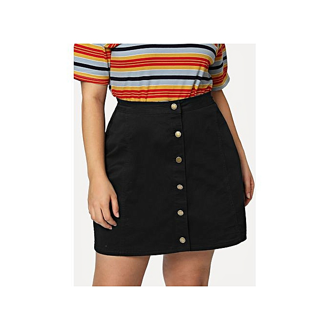 3335d3d081d7 SHEIN Plus Button Up Denim Skirt - Black | Jumia NG
