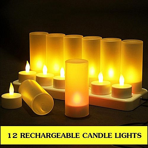AU 12 RECHARGEABLE FLICKERING LED TEA LIGHTS CANDLES WITH HOLDERS DINNER WEDDING US PLUG 110V
