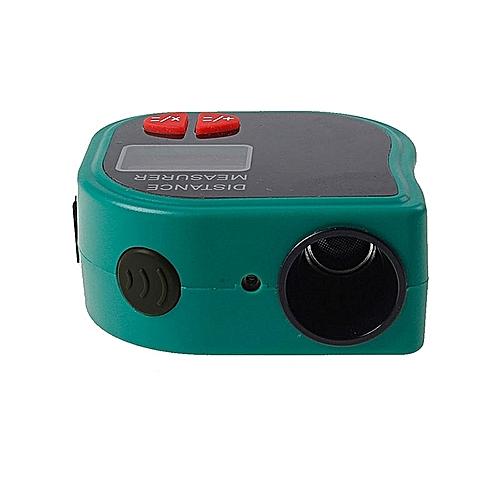 18M Mini Ultrasonic Digital Tape Measure Laser Range Finder Distance Meter Laser Pointer Rangefinder Level Tool Measurer Area Yellow Color:Green