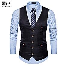 8f947abcc6 Men Casual Slim Fit Single Breasted Tuxedo Vests Waistcoats Men Chalecos  Para Hombre-black