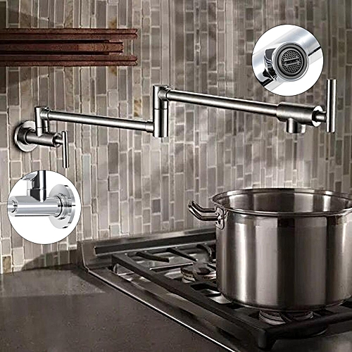 Solid Brass Pot Filler Kitchen Faucet Wall Mount Single Cold Tap Swing Spout