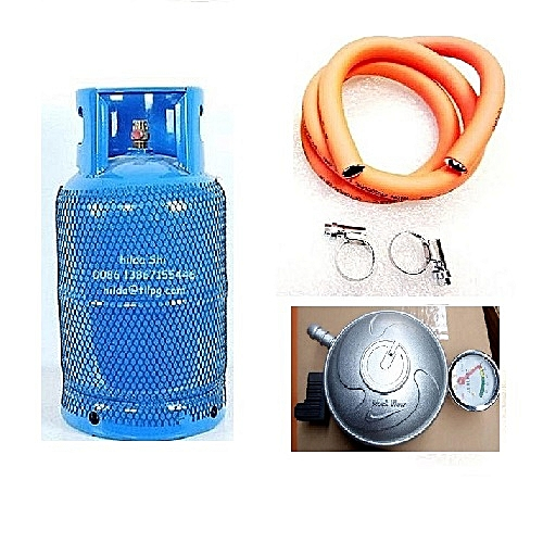 Gas Cylinder,regulator 4yards Of Hose And Clips