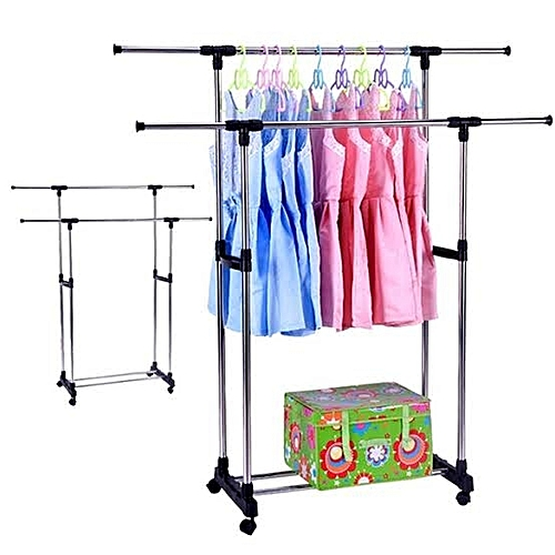 Double (2) Bar Layer Garment Cloth Rack For Boutique Home
