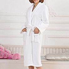 Men Women Loose Long Sleepwear Comfortable Bathrobe Coral Fleece Spa Robe -White 5b8228beb