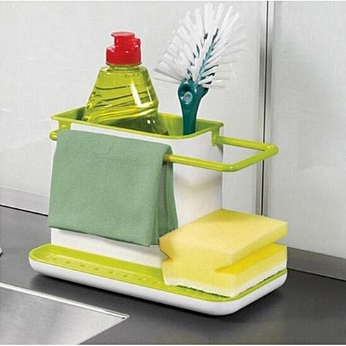 Sponge Kitchen Box Draining Rack Dish Self Draining Sink Storage Rack Kitchen Organizer Stands Utensils Towel Rack - Black
