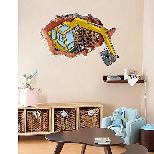Miico Creative 3D Excavator Broken Wall PVC Removable Home Room Decorative Wall Door Decor Sticker