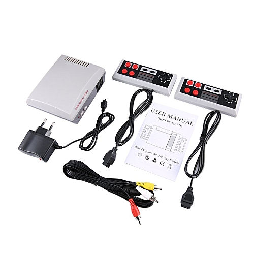 Handheld 8 Bit Family Recreation Video Game Console Dual Gamepad Gaming Player White&grey EU