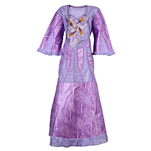 Ladies Long Brocade and Lace Kaftan with Beautiful Embroidery and Wrapper- Lilac