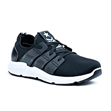 49259ad0d56127 Mens Fashion Smart Sneakers Trainers In Black