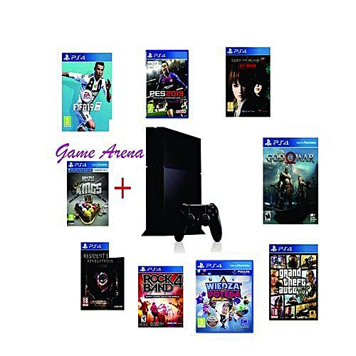 Playstation 4 Console - 500gb + Fifa19 + Pes 19 In CDs + Mortal Combact XL + Gta5 + New God Of War + Resident Evil2 + Hustle King + Evil Within + Dead Or Alive+ Wiedza To Potiga CDs 10 Latest Games In Total (Games Are In Both CDs & Installation)