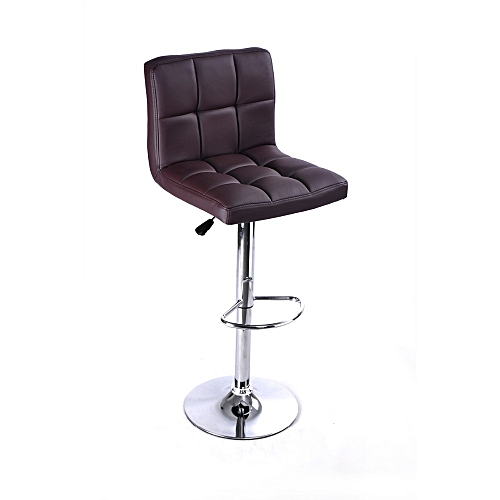Leather Bar Stool With Revolvable And Adjustable Hight-brown
