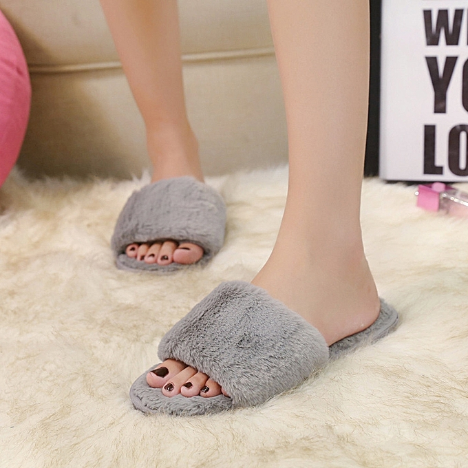 01edc821730d Blicool Shop Shoes Women Ladies Slip On Sliders Fluffy Faux Fur Flat Slipper  Flip Flop Sandal
