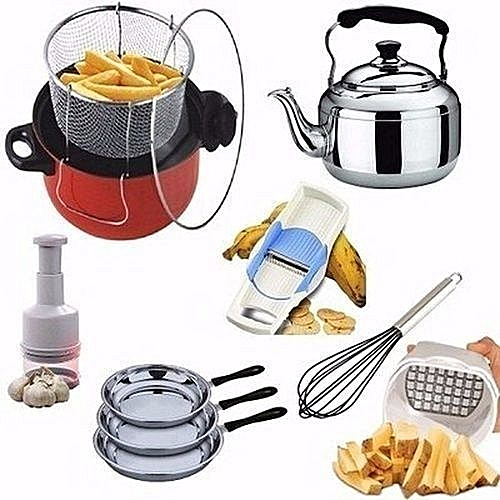 Manual Deep Fryer + Whistling Kettle + Fry Pans Stainlass + Accessories
