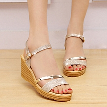 7265ea06f Blicool Shoes Women Round Toe Non-slip Platform High Heels Sandals Buckle  Sequins Sandals