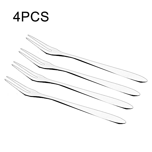 Home-4PCS/SET Stainless Steel Fruit Fork Household Kitchen Food Cake Dessert Forks Silver
