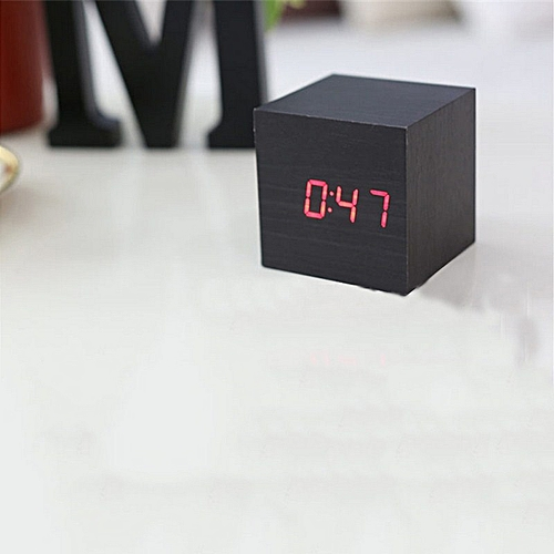 Modern LED Square Black Wooden Alarm Clock Desk Digital Clock With Temperature Time Function 4 Colors Home Decoration( Green)( )