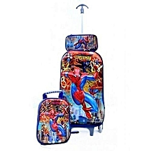 3in1 Spiderman Cartoon Character Schoolbag Pack Set With Hand Luggage Cabin  Trolley e8409bca166c7