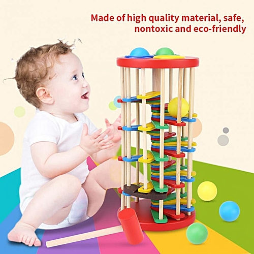 Colorful Wooden Kid Educational Pounding Toy For Knocking The Ball Off The Ladder With Mallet