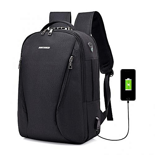 Oxford 4-way Anti Theft Smart Bag With Password Lock With USB Charging Port,Travel Backpack, Business,School Bag & Laptop Bag Water Repellant - Large Capacity- Black