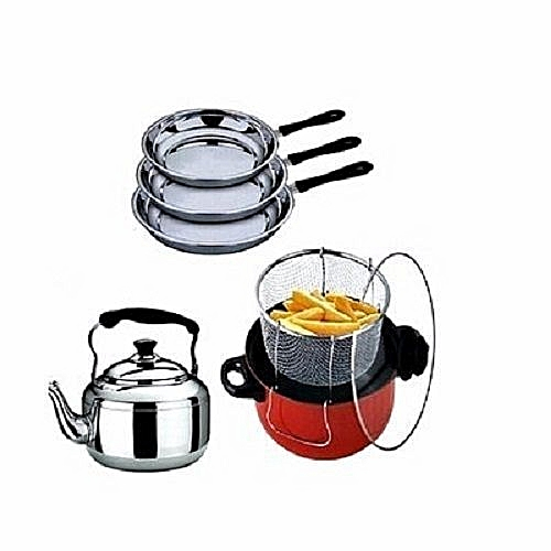 Manual Deep Fryer + Whistling Kettle + 3 Pcs Of Frying Pans