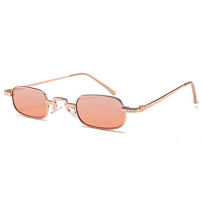 4f4f6e99328 Small Rectangle Sunglasses Men 2018 Metal Frame Retro Square Sun Glasses  For Women Uv400-Champagne