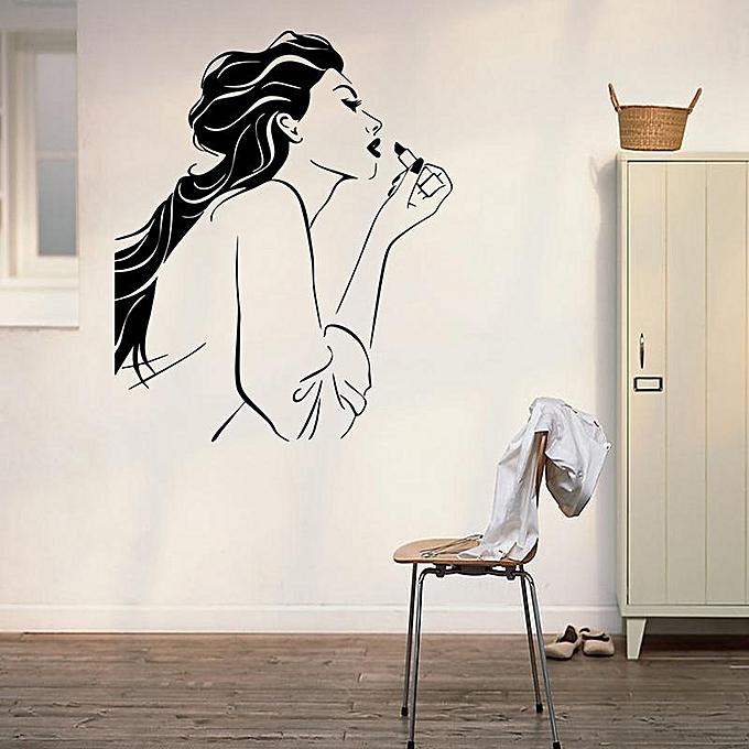 generic 1 pcs removable makeup girl wall sticker mural decals art