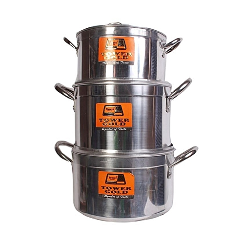 Non-Stick Pots 3 Sets - Silver