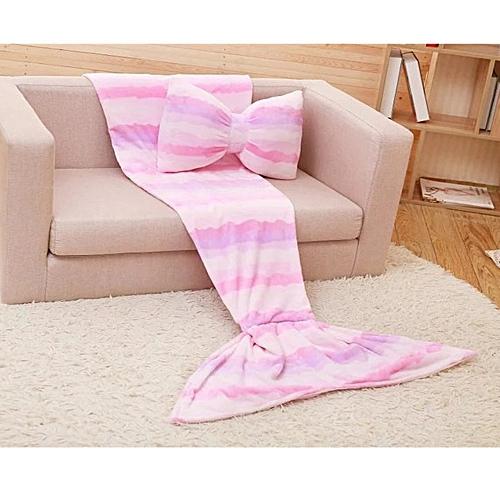Hiamok_Dtrestocy Coral Fleece Mermaid Tail Sofa Blanket/ Bowknot Pillow Mermaid Tail Blanket