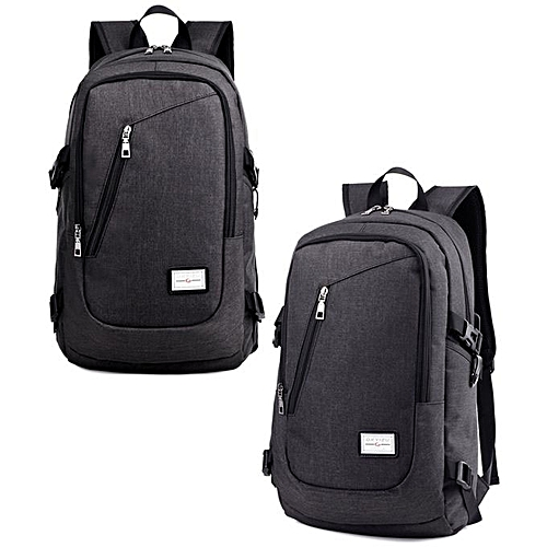 c569b004e2d BlueLife Men s Travel Shoulder Backpack USB Charger School Outdoor Bags  With Large Capacity - Black
